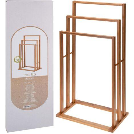 Bathroom Solutions Toallero de bambú con 3 barras