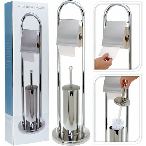 Bathroom Solutions Toilet Paper/Brush Holder Stainless Steel Silver - Silver