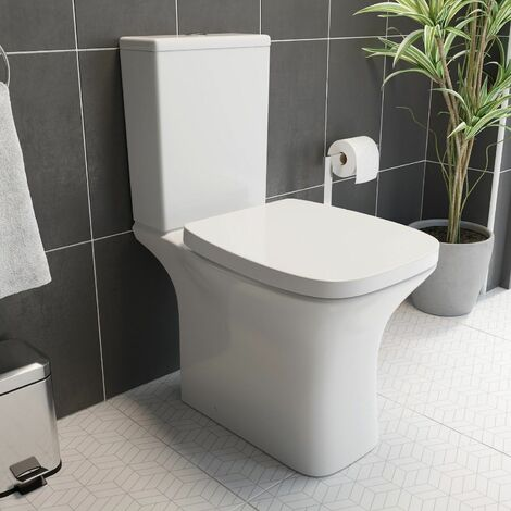 Bathroom Space Saving Toilet WC White Gloss Ceramic Soft Close Dual Flush