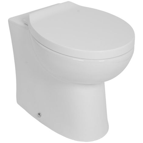 Bathroom Splash Back to Wall Toilet Pan with Soft Close Seat Housing Unit