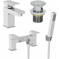 Bathroom Square Mono Basin Mixer Tap Bath Shower Filler Tap Set