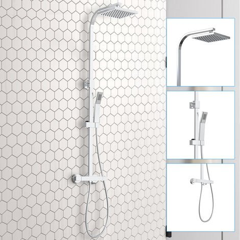 """main image of """"Bathroom Square Thermostatic Mixer Shower Set Twin Head Exposed Valve Chrome"""""""
