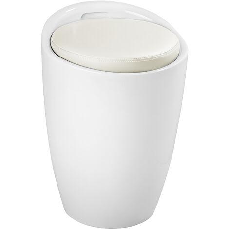 "main image of ""Bathroom stool with storage space - bathroom seat, bathroom stool white, bathroom ottoman"""