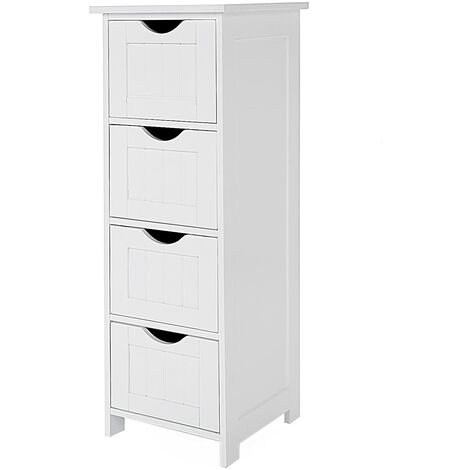 Bathroom Storage Cupboard Storage Cabinet Standing Wooden with 4 drawers 30 x 30 x 82cm White LHC40W