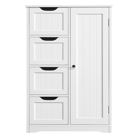 Bathroom Storage Units Free-standing Floor Cabinets with 4 Drawers and 1 Door, Adjustable Shelf for Living Room Kitchen Entryway White