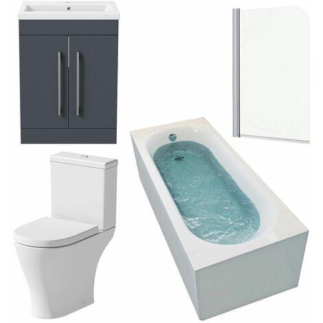 Bathroom Suite 1500 x 700 Bath Shower Screen Toilet Basin Vanity Unit Gloss Grey