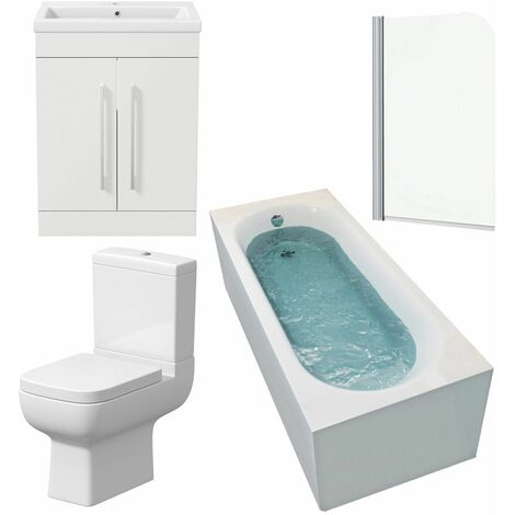 Bathroom Suite 1500 x 700 Curved Bath Screen Toilet Basin Sink Vanity Unit White