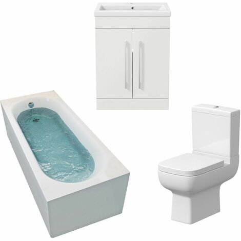 Bathroom Suite 1500 x 700 Single Curved Bath Toilet Basin Sink Vanity Unit White