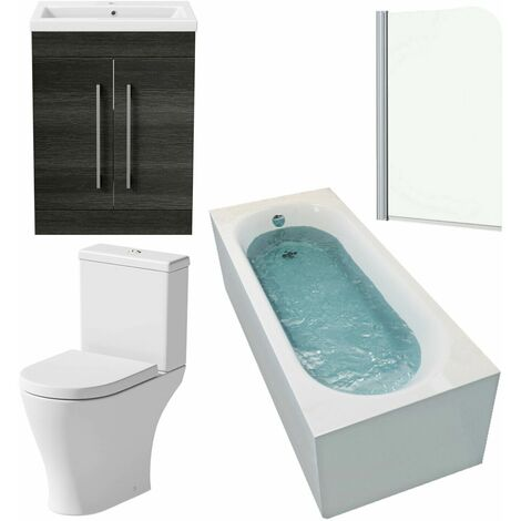 Bathroom Suite 1500 x 700mm Bath Shower Screen Toilet Basin Vanity Unit Grey