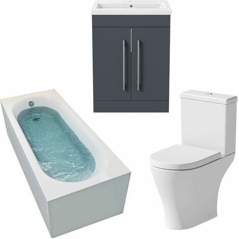 Bathroom Suite 1500 x 700mm Bath Shower Toilet WC Basin Vanity Unit Gloss Grey