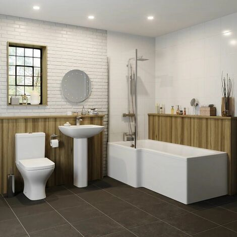 Bathroom Suite 1500mm Left Hand L Shape Shower Bath Toilet Basin Full Pedestal