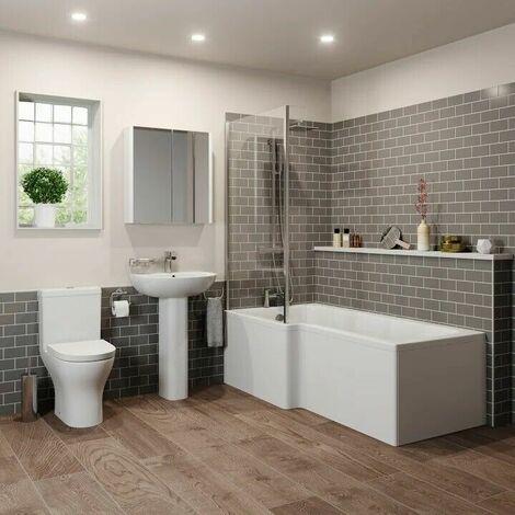 Bathroom Suite 1500mm Left Hand L Shape Shower Bath Toilet Basin Sink Pedestal