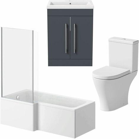Bathroom Suite 1500mm LH L Shape Shower Bath Toilet Basin Vanity Unit Grey Gloss