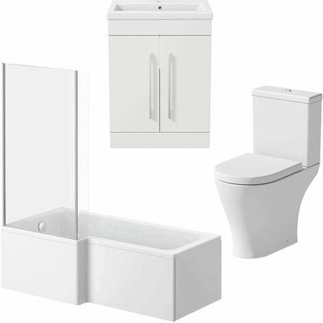 Bathroom Suite 1500mm LH L Shaped Shower Bath Screen Toilet Basin Vanity Unit