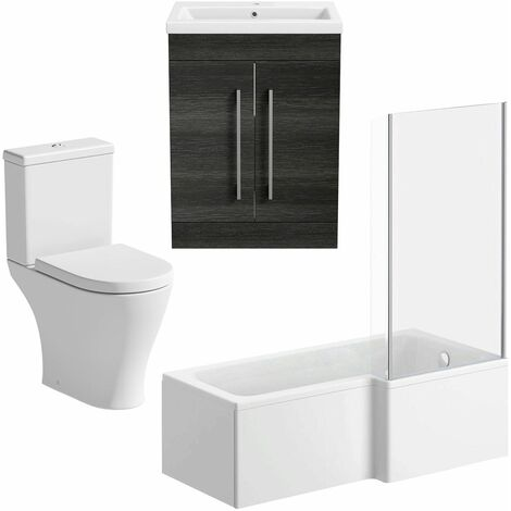 Bathroom Suite 1500mm RH L Shape Shower Bath Toilet Basin Vanity Unit Charcoal