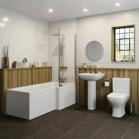 Bathroom Suite 1500mm Right Hand L Shape Shower Bath Toilet Basin Full Pedestal
