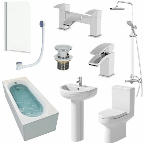 Bathroom Suite 1500mm Shower Bath Screen Toilet Basin Pedestal Taps Waste
