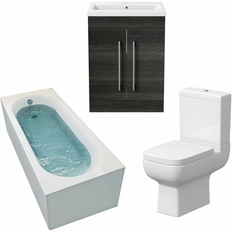 Bathroom Suite 1500mm Single Curved Bath Toilet Basin Sink Vanity Unit Charcoal