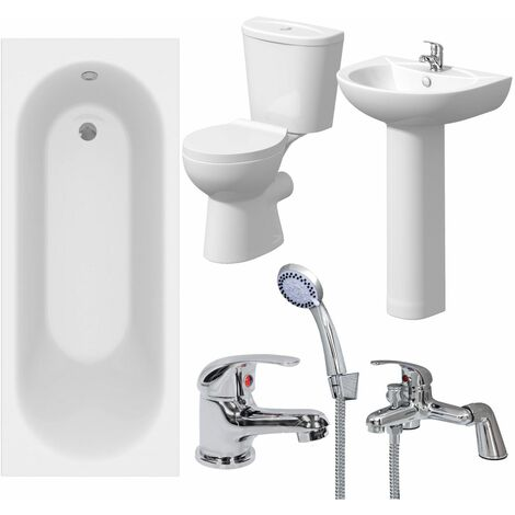 Bathroom Suite 1500mm White Curved Bath Toilet WC Basin Sink Tap Shower Mixer