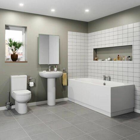Bathroom Suite 1600 Single Ended Bath Close Coupled Toilet Basin Pedestal White