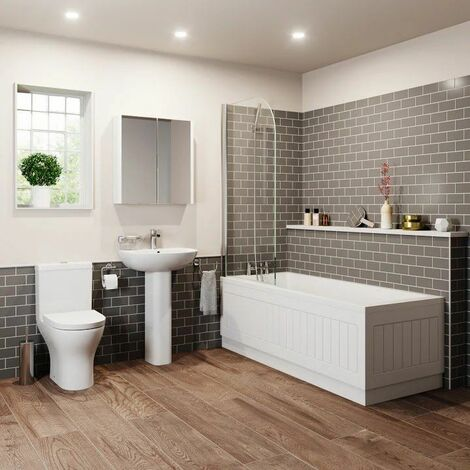 Bathroom Suite 1600 Single Ended Square Bath Close Coupled Toilet Basin Pedestal
