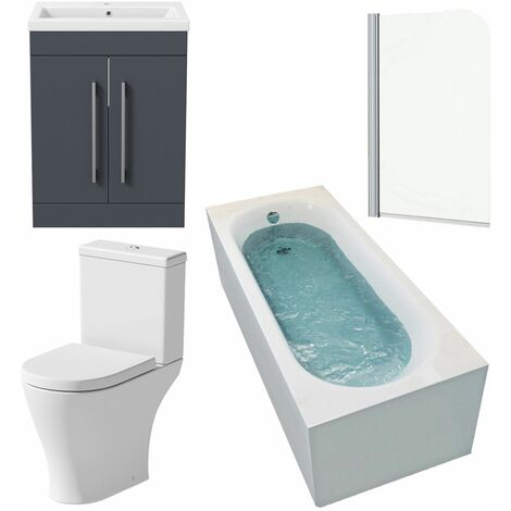 Bathroom Suite 1600 x 700 Bath Shower Screen Toilet Basin Vanity Unit Gloss Grey