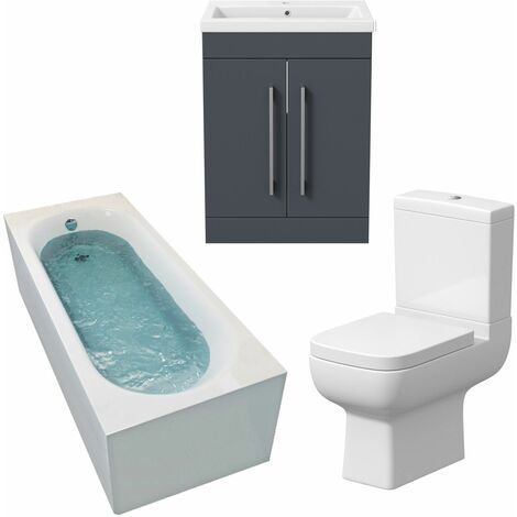 Bathroom Suite 1600 x 700 Single Curved Bath Toilet Basin Sink Vanity Unit Grey