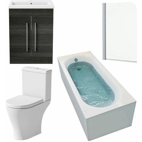 Bathroom Suite 1600 x 700mm Bath Shower Screen Toilet Basin Vanity Unit Grey