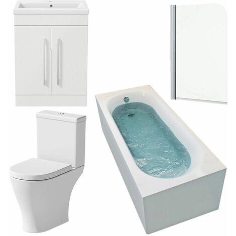 Bathroom Suite 1600 x 700mm Bath Shower Screen Toilet Basin Vanity Unit White