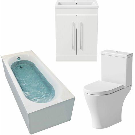 Bathroom Suite 1600 x 700mm Bath Shower Toilet WC Basin Vanity Unit White Gloss