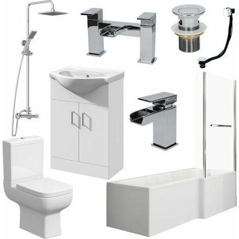 Bathroom Suite 1600mm L Shape RH Bath Screen & Rail WC Basin Vanity Unit Shower