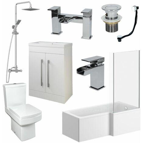 Bathroom Suite 1600mm L Shaped RH Bath Basin Vanity Unit Toilet Shower Taps Set