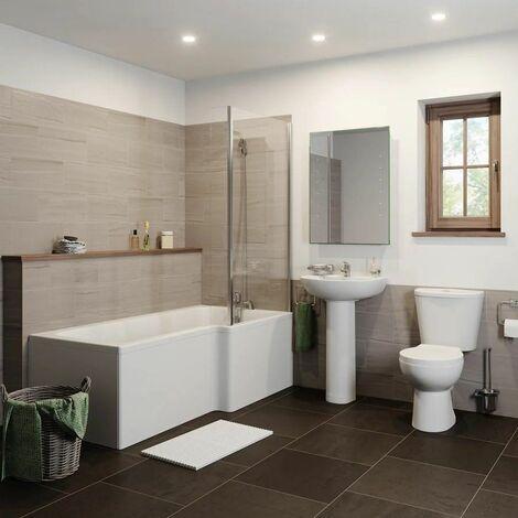 Bathroom Suite 1600mm L Shaped RH Showerbath Screen Toilet Basin Pedestal