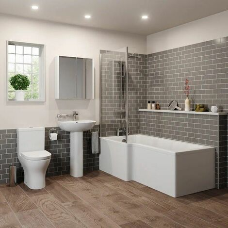 Bathroom Suite 1600mm Left Hand L Shape Shower Bath Toilet Basin Sink Pedestal