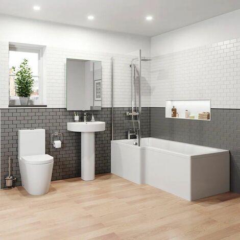 Bathroom Suite 1600mm Left Hand L Shape Shower Bath Toilet WC Basin Pedestal