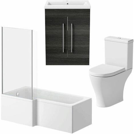 Bathroom Suite 1600mm LH L Shape Shower Bath Toilet Basin Vanity Unit Charcoal