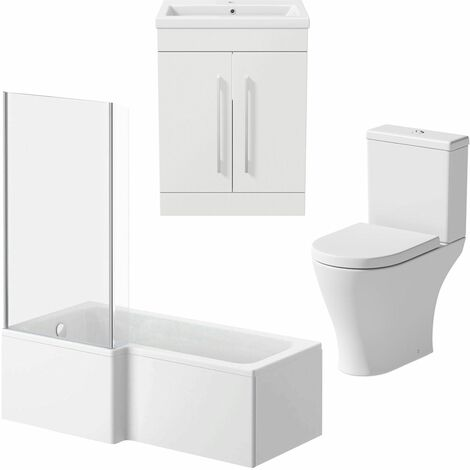 Bathroom Suite 1600mm LH L Shaped Shower Bath Screen Toilet Basin Vanity Unit