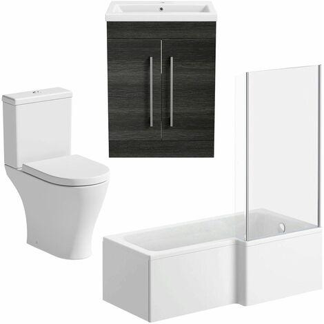 Bathroom Suite 1600mm RH L Shape Shower Bath Toilet Basin Vanity Unit Charcoal