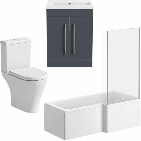 Bathroom Suite 1600mm RH L Shape Shower Bath Toilet Basin Vanity Unit Grey Gloss