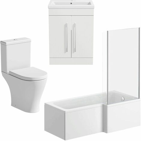 Bathroom Suite 1600mm RH L Shaped Shower Bath Screen Toilet Basin Vanity Unit