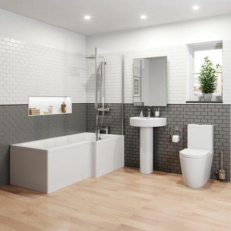 Bathroom Suite 1600mm Right Hand L Shape Shower Bath Toilet WC Basin Pedestal