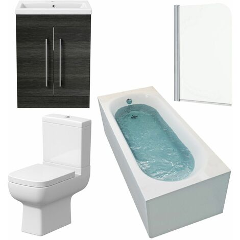 Bathroom Suite 1600mm Single Curved Bath Toilet Basin Sink Vanity Unit Charcoal