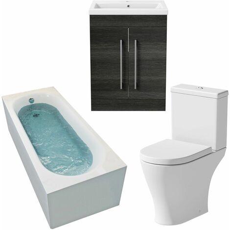 Bathroom Suite 1600mm Straight Bath Toilet Basin Sink Vanity Unit Charcoal Grey