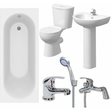Bathroom Suite 1600mm White Curved Bath Toilet WC Basin Sink Tap Shower Mixer