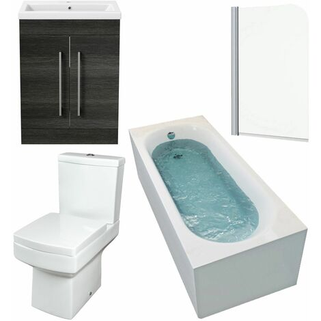Bathroom Suite 1700 Straight Bath Screen Toilet Basin Vanity Unit Charcoal Grey