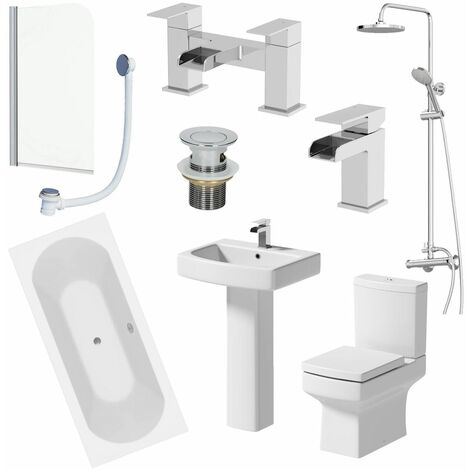 Bathroom Suite 1700mm Double Ended Bath Shower Screen Toilet Pedestal Basin Taps