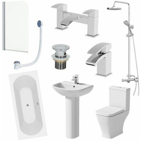 Bathroom Suite 1700mm Double Ended Bath Shower Toilet Pedestal Basin Taps Screen