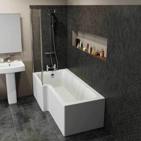 Bathroom Suite 1700mm L Shaped LH Bath Toilet Pedestal Basin Shower Screen Wast
