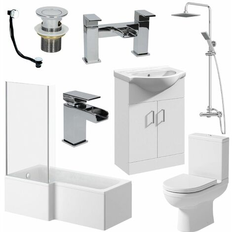 Bathroom Suite 1700mm L Shaped LH Bath Toilet Vanity Unit Basin Shower Tap Waste