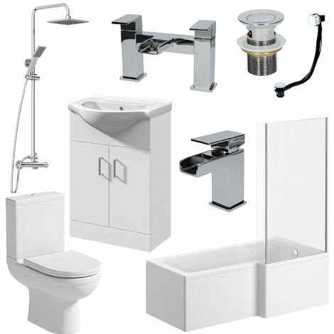 Bathroom Suite 1700mm L Shaped RH Bath Toilet Vanity Unit Basin Shower Tap Waste